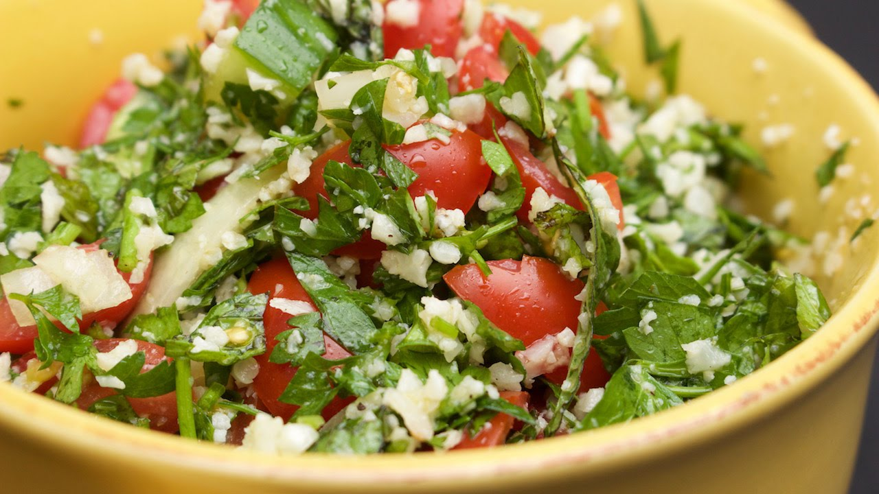 Tabbouleh Salad with Cauliflower Rice - YouTube