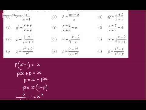 GCSE Algebra Changing the Subject of an Equation (rearrangin