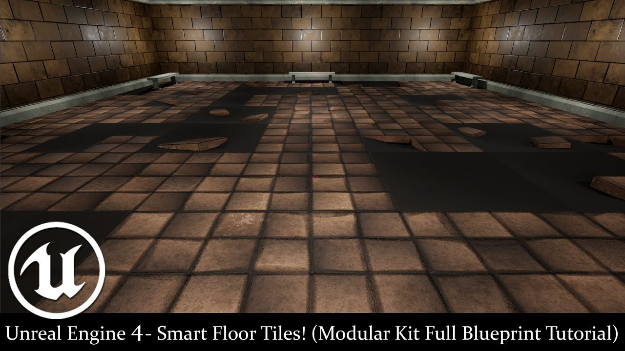 Unreal Engine 4 Smart Floor Tiles Modular Kit Full Blueprint
