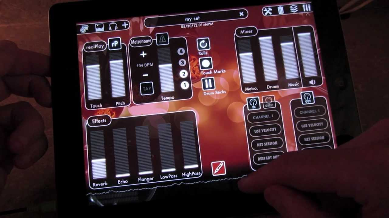 Drums XD iPad Music Percussion App Demonstration with GarageBand & MIDI  support