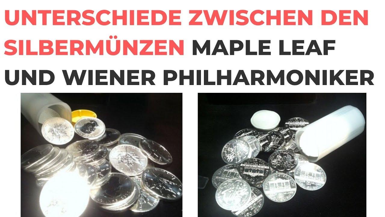 Unterschiede zwischen den Silbermünzen Maple Leaf und Wiener Philharmoniker