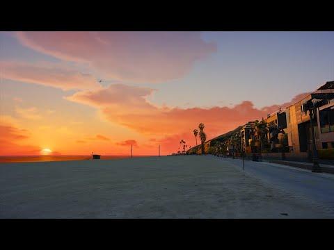 Relaxing Walk On The Beach   Binaural Audio   GTA V