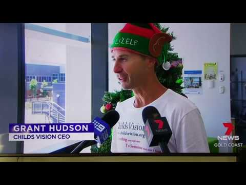 Channel 7 News Childs Vision Goldcoast University Hospital delivery Christams gifts to sick kids