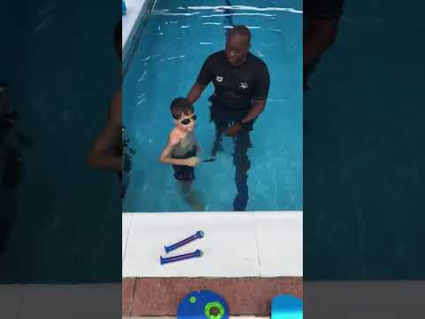 Elias takes his first swimming lesson at Emirates International School - Jumeirah