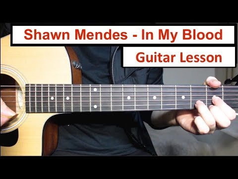 Shawn Mendes - In My Blood | Guitar Lesson (Tutorial) How to play Fingerpicking Intro + Chords