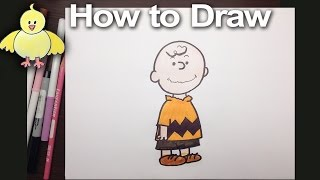 How to draw Charlie Brown from the Peanuts step by step