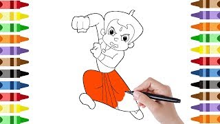 How to draw & learn colors CHOTA BHEEM FIGHTING/coloring book/coloring page/toddlers for kids videos