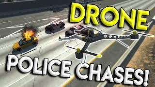 EXTREME DRONE POLICE CHASES & CRASHES! - BeamNG Drive Gameplay & Crashes - Police Chases