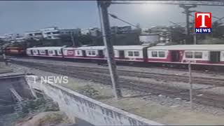 CCTV Visuals : Kachiguda Train Accident Visuals | Hyderabad | Tnews Telugu