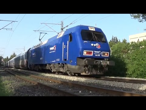Trains In Aghios Stefanos, Athens Passing Only In One Line (July 2021)