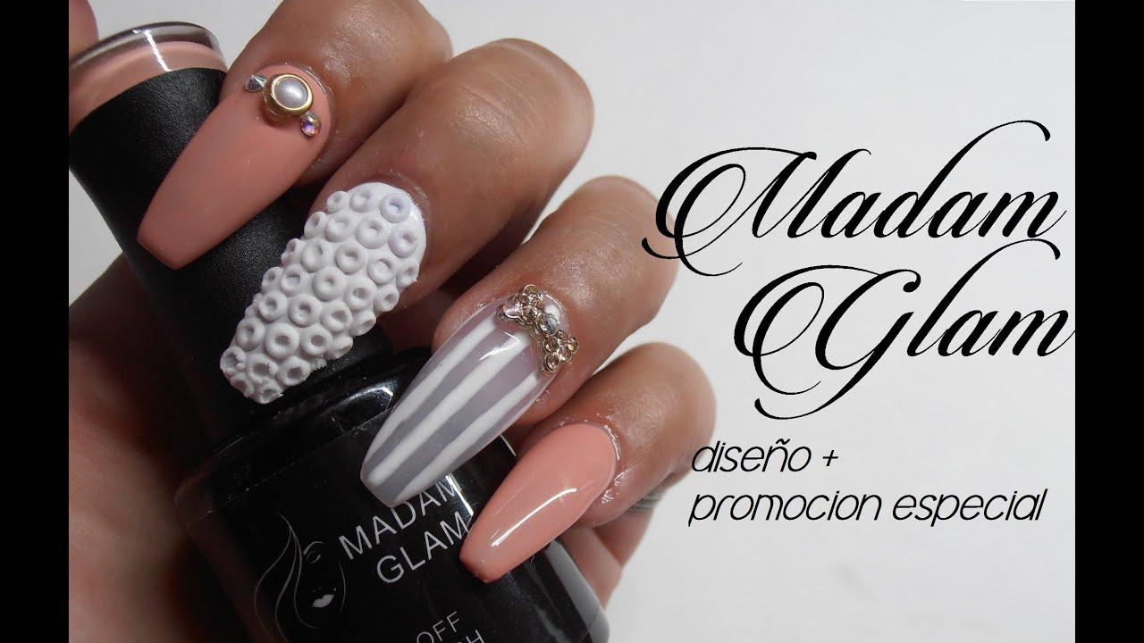 Madam Glam esmalte en gel + diseño (GEL POLISH) - YouTube