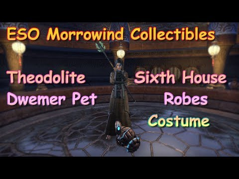 ESO Morrowind Collectible Theodolite Pet & Sixth House Robe Costume