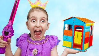 Elisa and Malena Pretend Play with Playhouse for kids