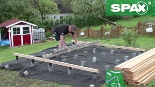 Holzterrasse mit höhenverstellbarem Verlegesystem von SPAX bauen