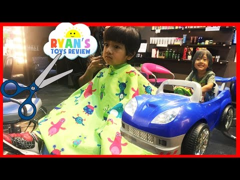 Ryan's FIRST HAIRCUT at the store on Power Wheels