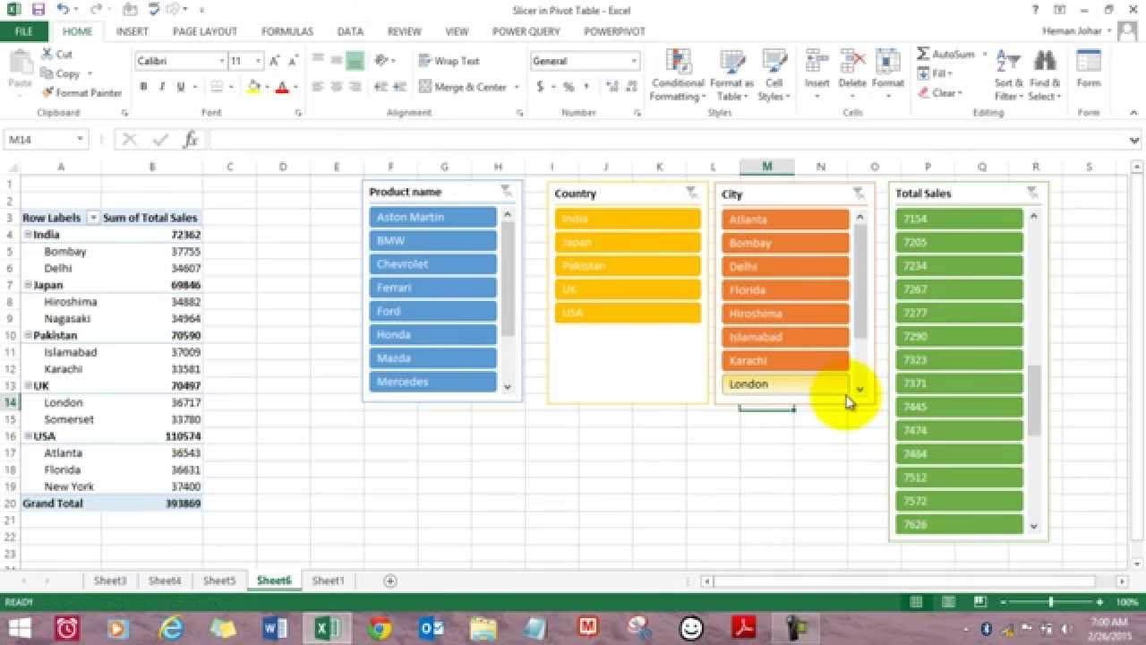Slicer In Pivot Table For Data Analysis Excel Hindi