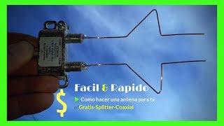 Facil y rapido▶️Como hacer una antena para tv✅Gratis/Splitter/Coaxial