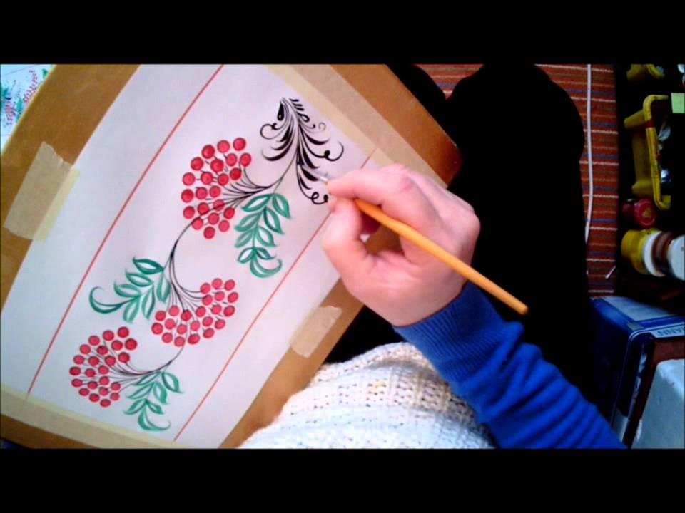 "Хохлома  МК № 6 ""Рябинка и травка"". Khokhloma. How to paint a rowan berry.Hohloma  Vogelbeeren."