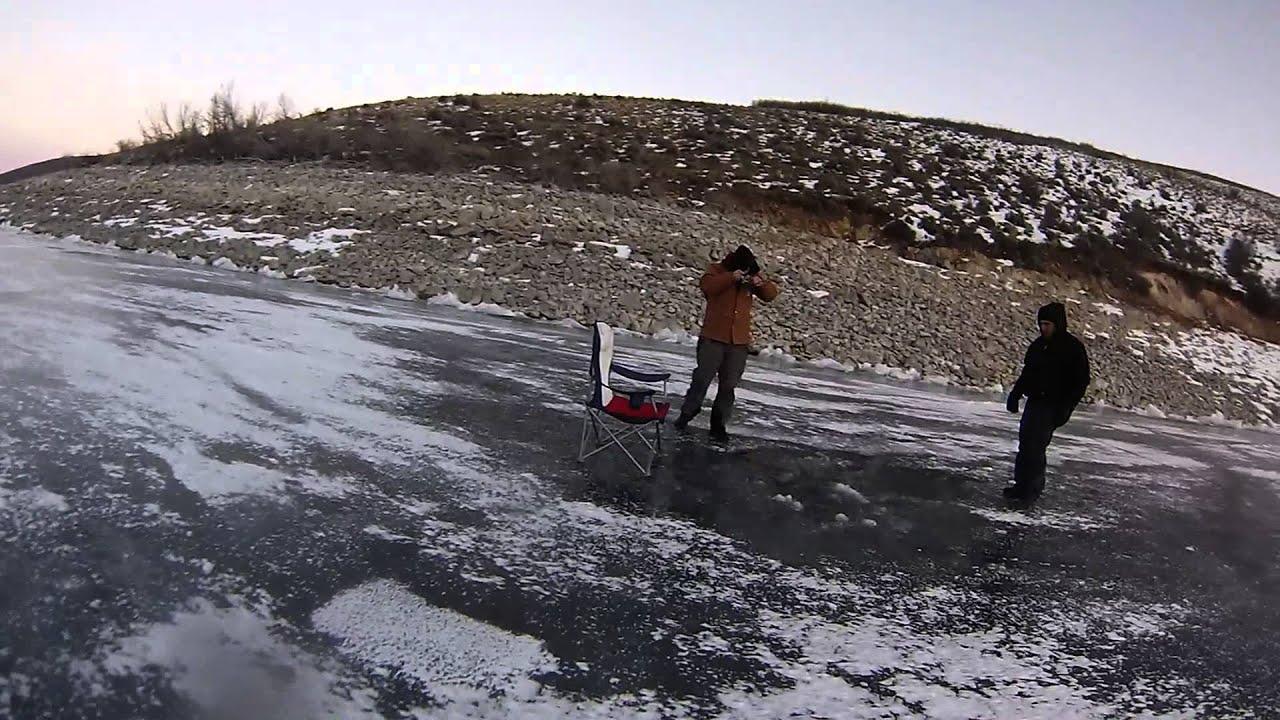 Ice fishing deer creek utah youtube for Deer creek fishing