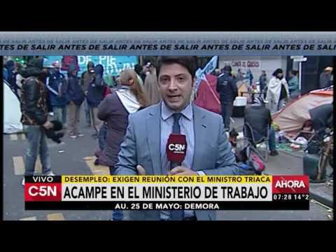 C5N - Sociedad: Acampe frente al Ministerio de Trabajo de la Nación (Parte 1)