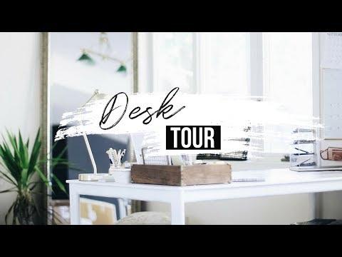 DIY Desk Decor + Organization Hacks   DESK + OFFICE TOUR   FREE  Wall Art