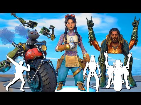 ALL BUILT-IN FORTNITE DANCES & EMOTES With Battle Pass Skins (Meowscles Doing Go CAT Go)