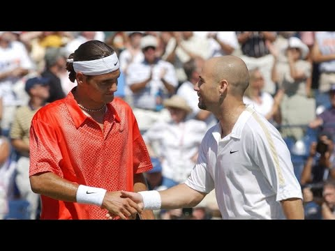 Roger Federer Vs Andre Agassi 2001 US Open 4th Round Highlights