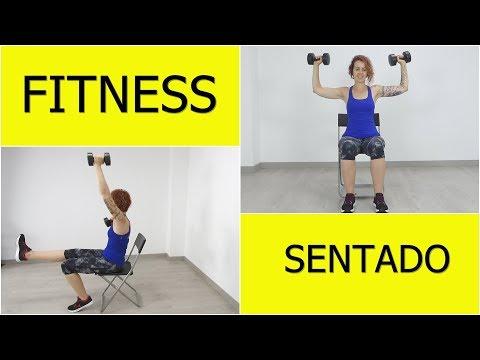 Ejercicios sentado, rutina fitness con silla completa para mayores, obesos y lesionados