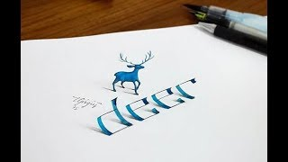 3D Trick Art on paper - How To Draw 3D Deer   Coloring Book For Kids   Drawing Deer Blue