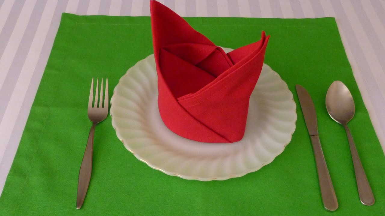 How To Make Table Napkin Designs rosebud napkin fold how to fold a napkin pinterest napkin Napkin Folding The Crown Youtube
