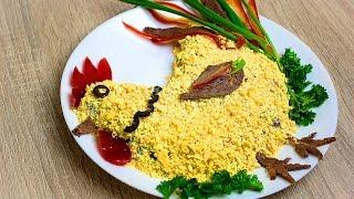 Салат петух - украшаем новогодний стол