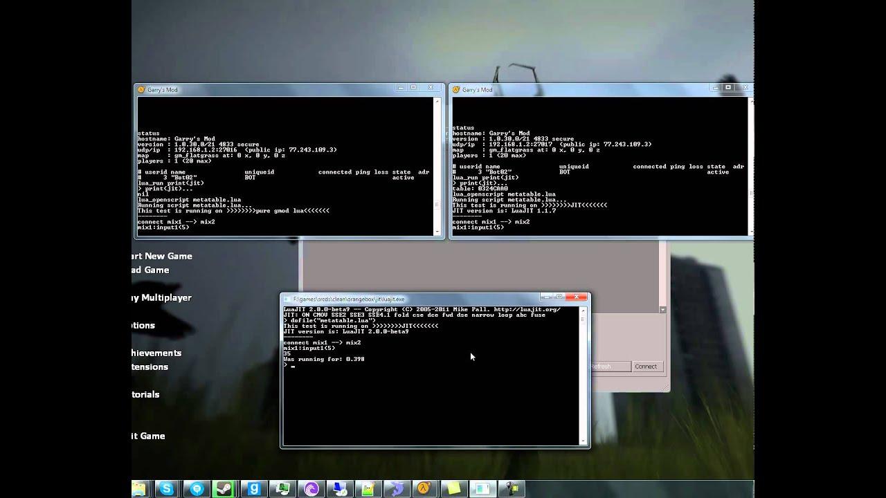 Garry's Mod Lua vs LuaJIT 1 1 7 gmod module vs LuaJIT 2 0 0-beta9