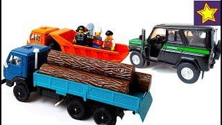 Машинки Камаз, Уаз Історія про порушників у лісі Toys video for kids