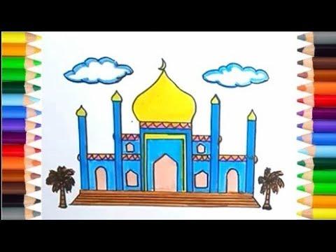 Contoh Mewarnai Gambar Masjid Untuk Anak Tk Nusagates