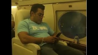 Salman khan checking Facebook / twitter in his private plane