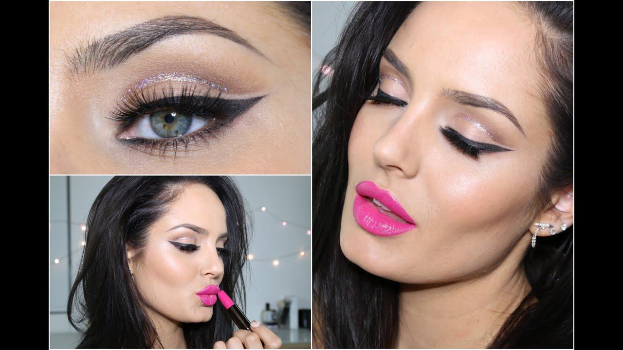 Glitter cut crease with pink lip eid makeup tutorial glitter cut crease with pink lip eid makeup tutorial chloemorello youtube baditri Choice Image