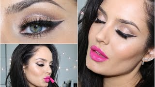 Glitter Cut Crease with Pink Lip! Eid Makeup Tutorial \\ ChloeMorello