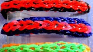 Браслет выпуклая цепочка из резинок Rainbow Loom Bands  на станке