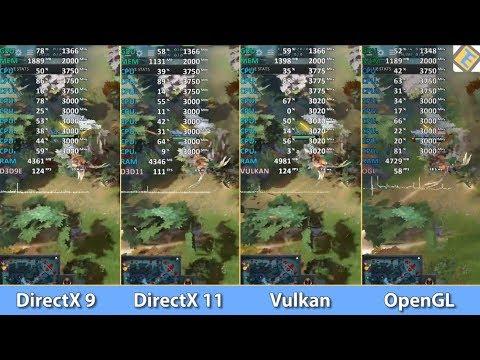 DOTA 2 (AMD) - DirectX 9 vs DirectX 11 vs Vulkan vs  OpenGL - What's the  best API for AMD?