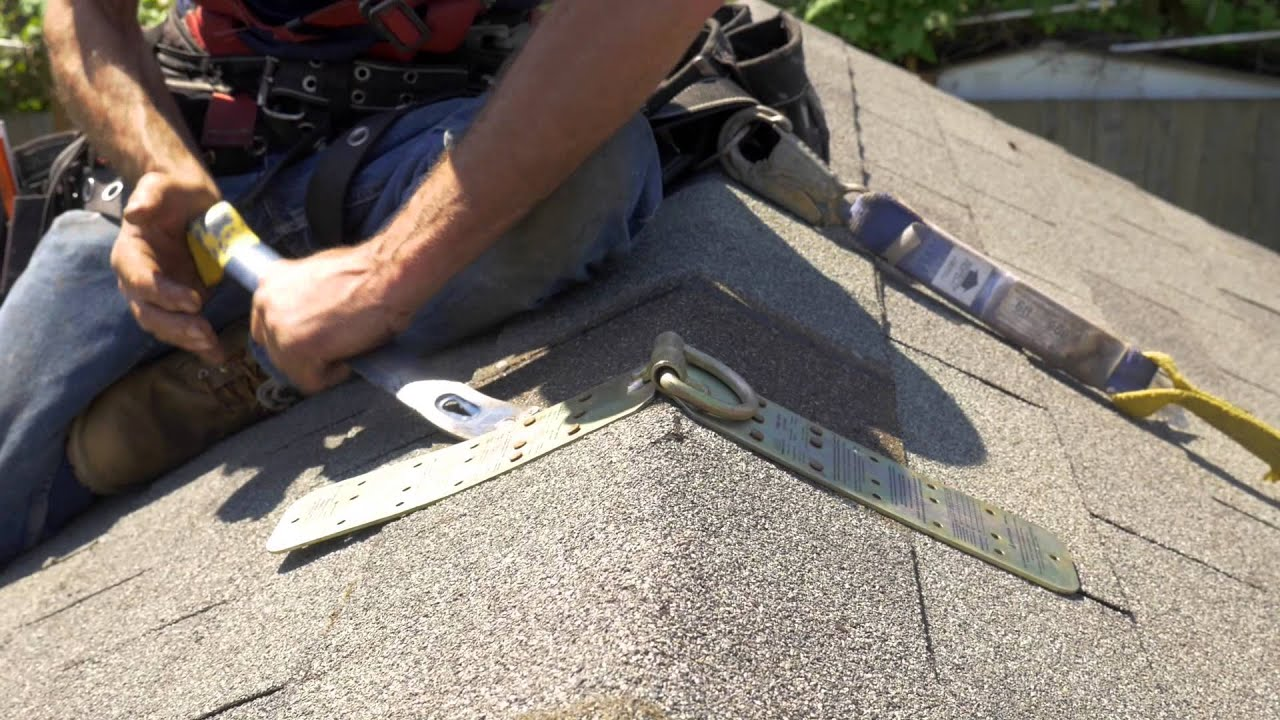 How To Install A Temporary Roof Anchor Youtube