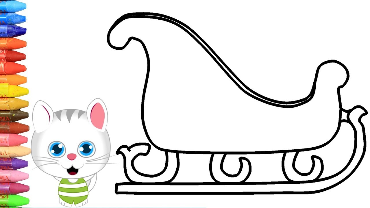 Wie zeichnet man Weihnachts Schlitten mit MiMi  Zeichnen und Ausmalen für  Kinder
