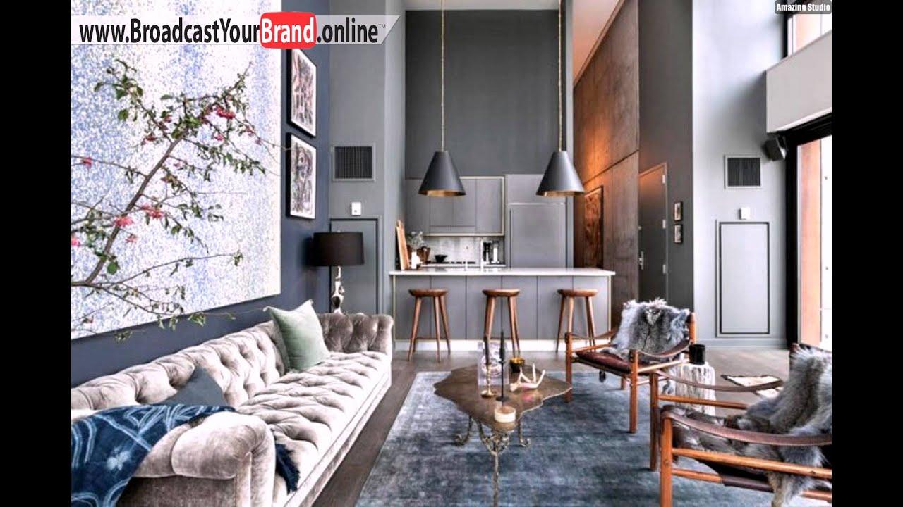 Wohnung Brooklyn Wohnzimmer Küche Rauchgrau Holz Barhocker - YouTube