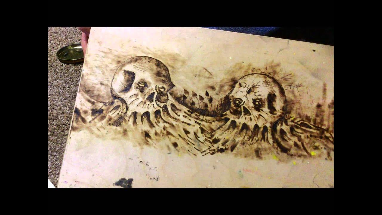 WOOD BURN ART PYROGRAPHY WYOMING BLEEDING SKULL ART TIME LAPSE