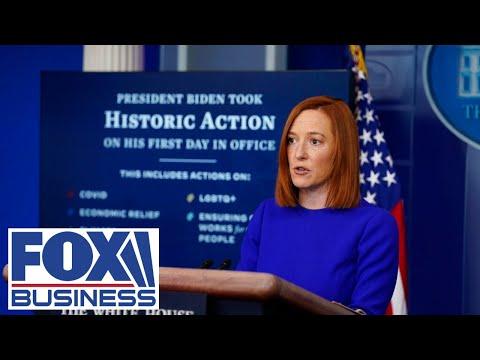 Press secretary Jen Psaki holds the first briefing of Biden's presidency