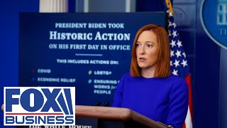 Press secretary Jen Psaki holds the first briefing of Biden's presidency