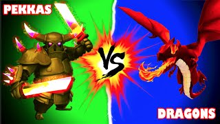 "Clash of Clans - BATTLE OF THE BEASTS! ""PEKKAS VS DRAGONS!"" Low Leveled Troop Competition!"