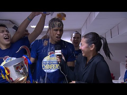 Magnolia Hotshots locker room celebration