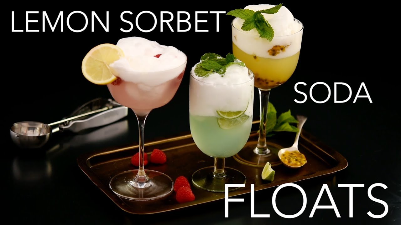 Lemon Sorbet Soda Floats