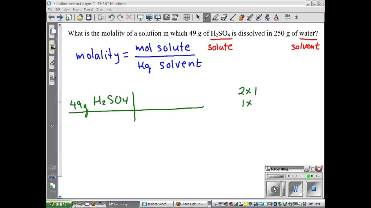 What is the molality of a solution of 10 g NaOH in 500 g