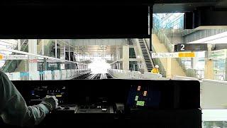 【前面展望】高輪ゲートウェイ駅 線路切替工事後の山手線外回り 田町~品川 2019年11月